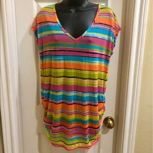 ❤️NWT. BRIGHT & CHEERFUL Multi Stripe CoverUp